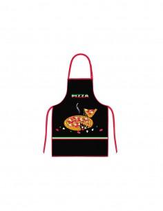 "DELANTAL COCINA DIS. ""PIZZA"" NEGRO"
